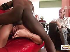 Brunette MILF cucks her husband by fucking a black man
